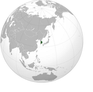 Южная Корея на карте мира